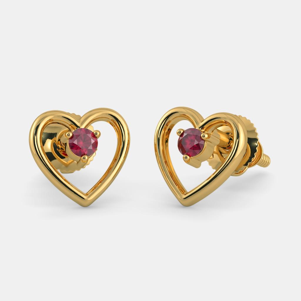Heart Earrings 9ct White Gold Diamond Heart Stud Earrings