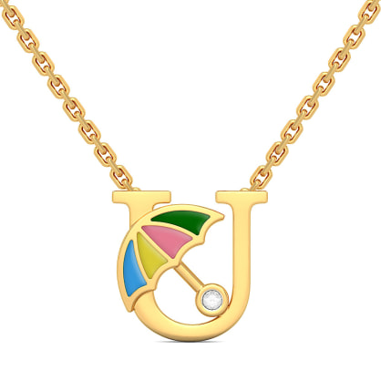 U for Umbrella Necklace for Kids