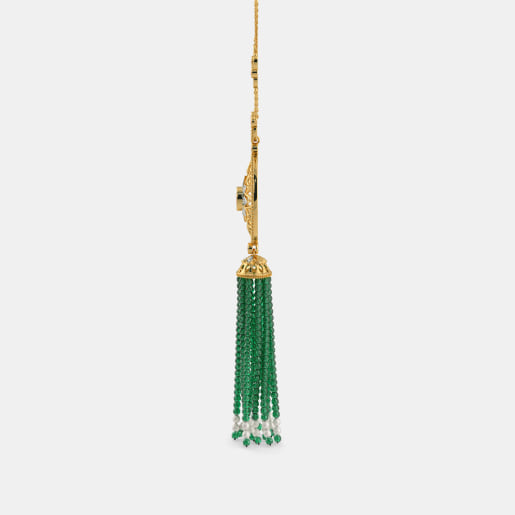 Diamond , Ruby And Tassel2 Necklace In Yellow Gold (20.3 Gram) With Diamonds (0.174 Ct)
