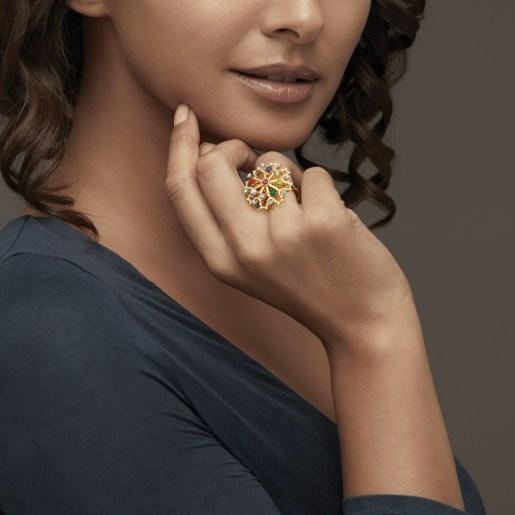 Diamond , Ruby And Navaratna 2 Ring In Yellow Gold (6.04 Gram) With Diamonds (0.269 Ct)