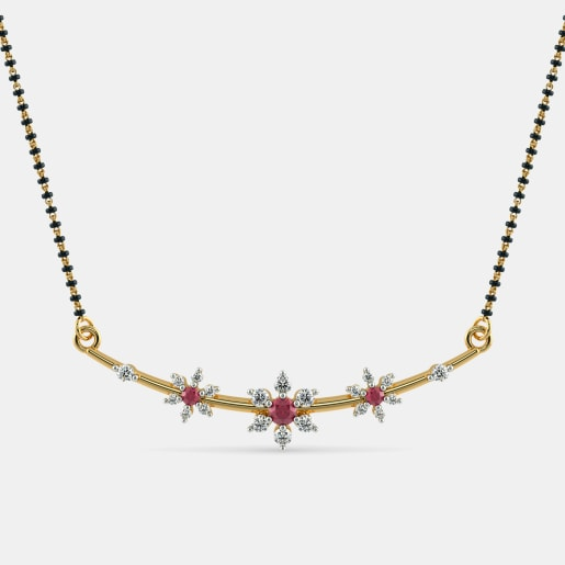 Diamond And Ruby Mangalsutra In Yellow Gold (2.43 Gram) With Diamonds (0.362 Ct)