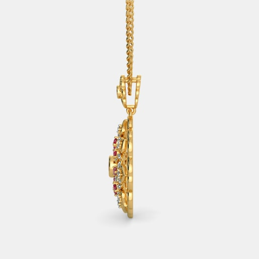 Diamond And Ruby Pendant In Yellow Gold (5.52 Gram) With Diamonds (0.200 Ct)