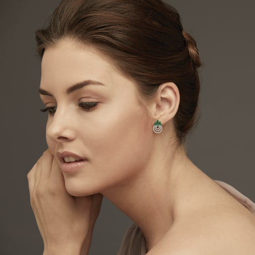 Diamond And Emerald Earring In Yellow Gold (4.24 Gram) With Diamonds (0.450 Ct)