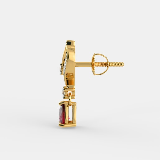 Diamond And Ruby Earring In Yellow Gold (3.4 Gram) With Diamonds (0.158 Ct)