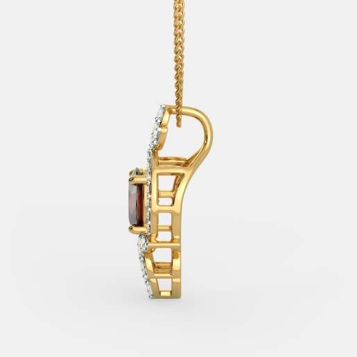 Diamond And Ruby Pendant In Yellow Gold (1.56 Gram) With Diamonds (0.288 Ct)