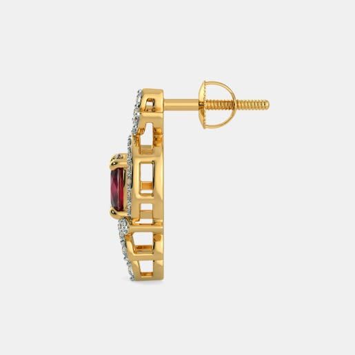 Diamond And Ruby Earring In Yellow Gold (3.19 Gram) With Diamonds (0.386 Ct)