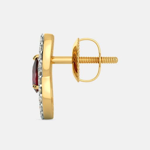 Diamond And Ruby Earring In Yellow Gold (2.35 Gram) With Diamonds (0.384 Ct)