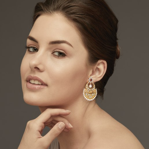 Diamond , Ruby And White Pearl Earring In Yellow Gold (15.53 Gram) With Diamonds (0.842 Ct)