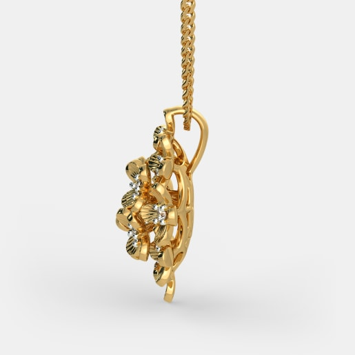 Diamond Pendant In Yellow Gold (3.29 Gram) With Diamonds (0.120 Ct)