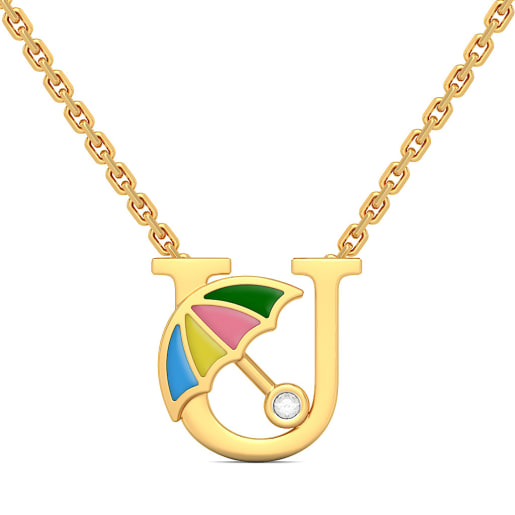 U for Umbrella Necklace for Kids