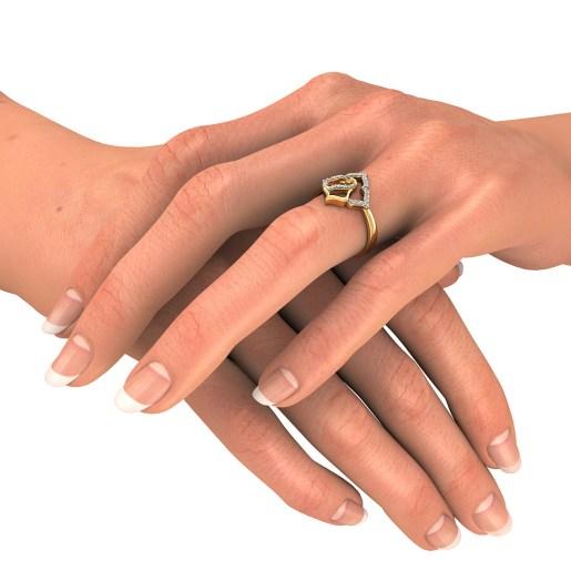 Diamond Ring In Yellow Gold (3.16 Gram) With Diamonds (0.140 Ct)