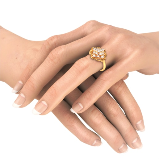 Diamond Ring In Yellow Gold (3.38 Gram) With Diamonds (0.428 Ct)