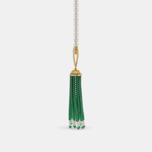 Diamond , White Pearl And Tassel Necklace In Yellow Gold (7.93 Gram)